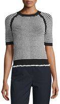 3.1 Phillip Lim Short-Sleeve Textured Raglan Top, Black/White