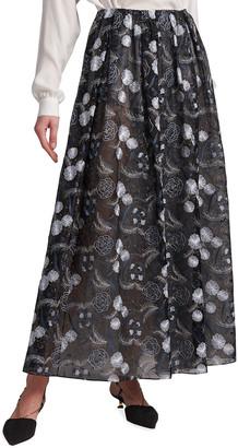 Giorgio Armani Floral Fil Coupe Long Organza Skirt