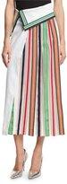 Diane von Furstenberg Side-Pleat Ribbon-Stripe Midi Skirt, White