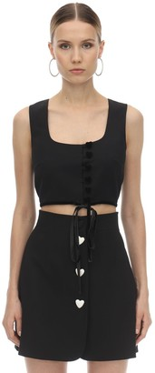 George Keburia Heart Buttoned Crepe Crop Top W/ Velvet