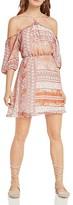 BCBGeneration Patchwork Print Cold-Shoulder Dress