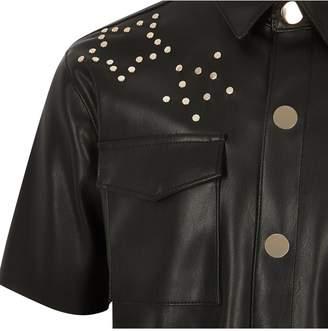 River Island Girls Faux Leather Studded Dress-Black