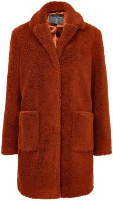 Dorothy Perkins Womens Rust Longline Teddy Coat