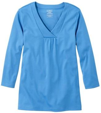 L.L. Bean Pima V-Neck Tee 3/4 Sleeve Women's Regular