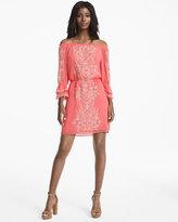 White House Black Market Off the Shoulder Embroidered Boho Dress