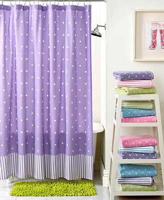Kassatex Bath Accessories, Bambini Stars Dots and Lines Shower Curtain