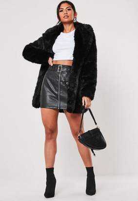 Missguided Tall Black Faux Fur Collared Jacket