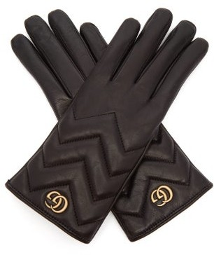 Gucci Gg Marmont Chevron-quilted Leather Gloves - Womens - Black