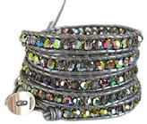 Chan Luu Crystal Cal Wrap Bracelet on Grey Leather
