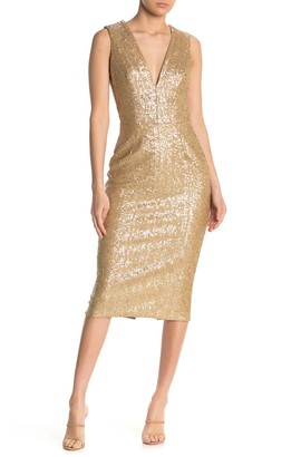 Dress the Population Glittered Plunging Sleeveless Dress