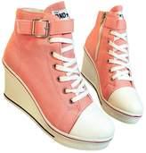 fereshte Women's Canvas High-Heeled Platform Wedge Fashion Sneaker Pump Shoes