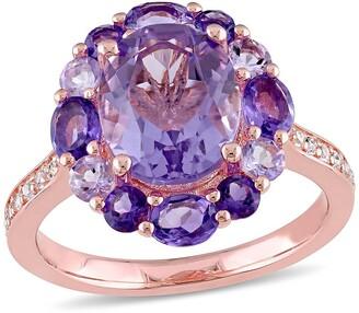 Delmar Sterling Silver Amethyst, White Topaz, & Rose de France Fashion Ring