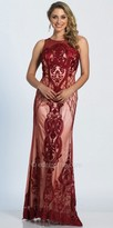 Dave and Johnny Applique Printed Illusion Column Evening Dress