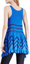 Free People Sleeveless Lace-Striped Trapeze Dress