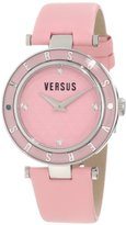 Versus By Versace Women's Crystal-Accented Stainless Steel Watch with Pink Genuine Leather Watch