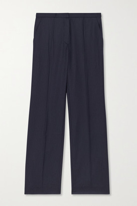 Nina Ricci Cropped Pinstriped Wool Straight-leg Pants - Navy
