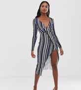 Asos Tall DESIGN tall long sleeve textured wrap midi dress in stripe