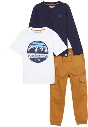 Avalanche Boys' Casual Pants white/navy/khaki - White & Navy Logo Tee Set - Infant & Toddler