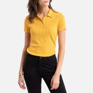 Anne Weyburn Pointelle Cotton Mix T-Shirt with Shirt-Collar
