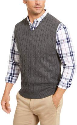 Club Room Men Cable-Knit Cotton Sweater Vest