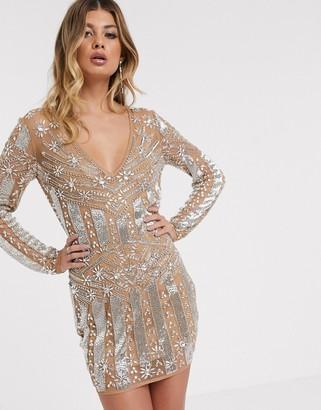 Asos Design DESIGN long sleeve heavily embellished mini dress-Silver
