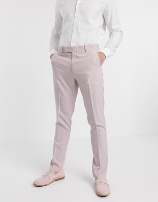 ASOS DESIGN wedding skinny suit pants in crosshatch in rose pink