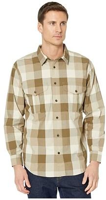 Filson Feather Cloth Shirt (Tan/Olive/Khaki Plaid) Men's Short Sleeve Button Up