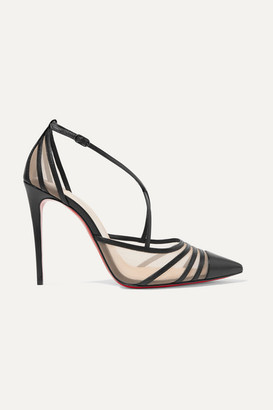 Christian Louboutin Theodorella 100 Leather And Mesh Pumps - Black
