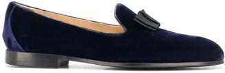 Doucal's Bow Front Velvet Loafers