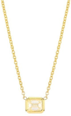 Roberto Coin Tiny Treasures 18K Yellow Gold & Emerald-Cut Diamond Pendant Necklace