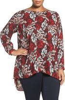 Vince Camuto Plus Size Women's 'Woodland Floral' High/low Blouse