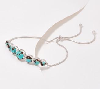 Generation Gems Round Gemstone Cabochon Sterling Silver Bracelet