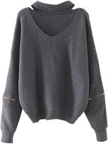 Futurino Women's Solid Choker V Neck Long Sleeve Loose Knit Sweater Jumper Top