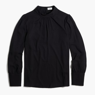 J.Crew Long-sleeve shirred mockneck top