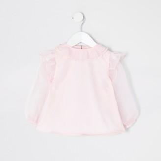 River Island Mini girls Pink organza frill long sleeve top