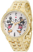 Disney Womens Gold-Tone Cubic Zirconia Love Bracelet Watch