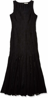 Halston Women's Sleeveless Boatneck Crepe Strip Dress Formal