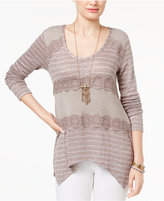 American Rag Mixed-Knit Lace-Trim Pullover Sweater, Created for Macy's