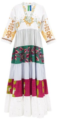 RIANNA + NINA Kendima Banded Cotton-poplin Maxi Dress - White Multi