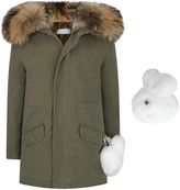 Yves Salomon Khaki Cotton Parka With Fur Removabale Lining