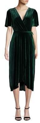 Vince Camuto Short-Sleeve Velvet Wrap Dress