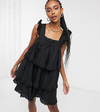 Reclaimed Vintage inspired mini smock dress with tiers and lace in black