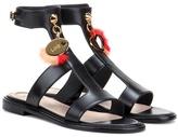 Fendi Fur-embellished eather sandals