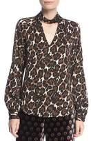 Trina Turk Canyon Animal-Print Silk Choker-Neck Blouse