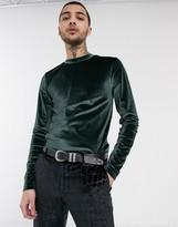 Asos Design DESIGN long sleeve muscle t-shirt in velour in green