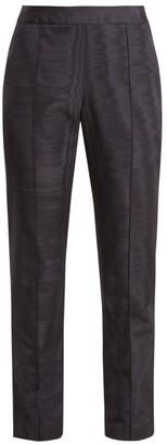 Rosie Assoulin Oboe Slim-leg Silk And Wool-blend Trousers - Navy