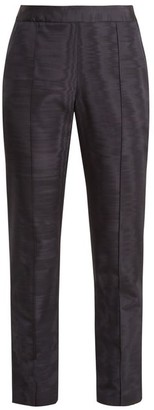 Rosie Assoulin Oboe Slim Leg Silk And Wool Blend Trousers - Womens - Navy