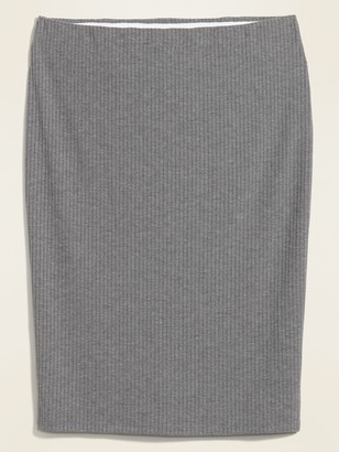 Old Navy High-Waisted Rib-Knit Plus-Size Midi Pencil Skirt