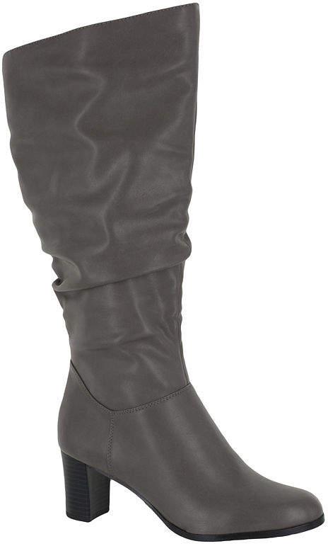 3357d93ea88 Womens Tessla Stacked Heel Zip Slouch Dress Boots