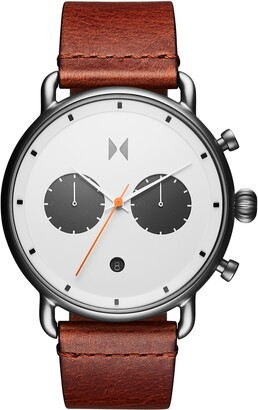 MVMT Blacktop Chronograph Leather Strap Watch, 47mm